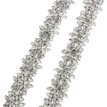 Rhinestone Applique Trim por la yarda con cristales impresionantes para el vestido de boda cinturón o