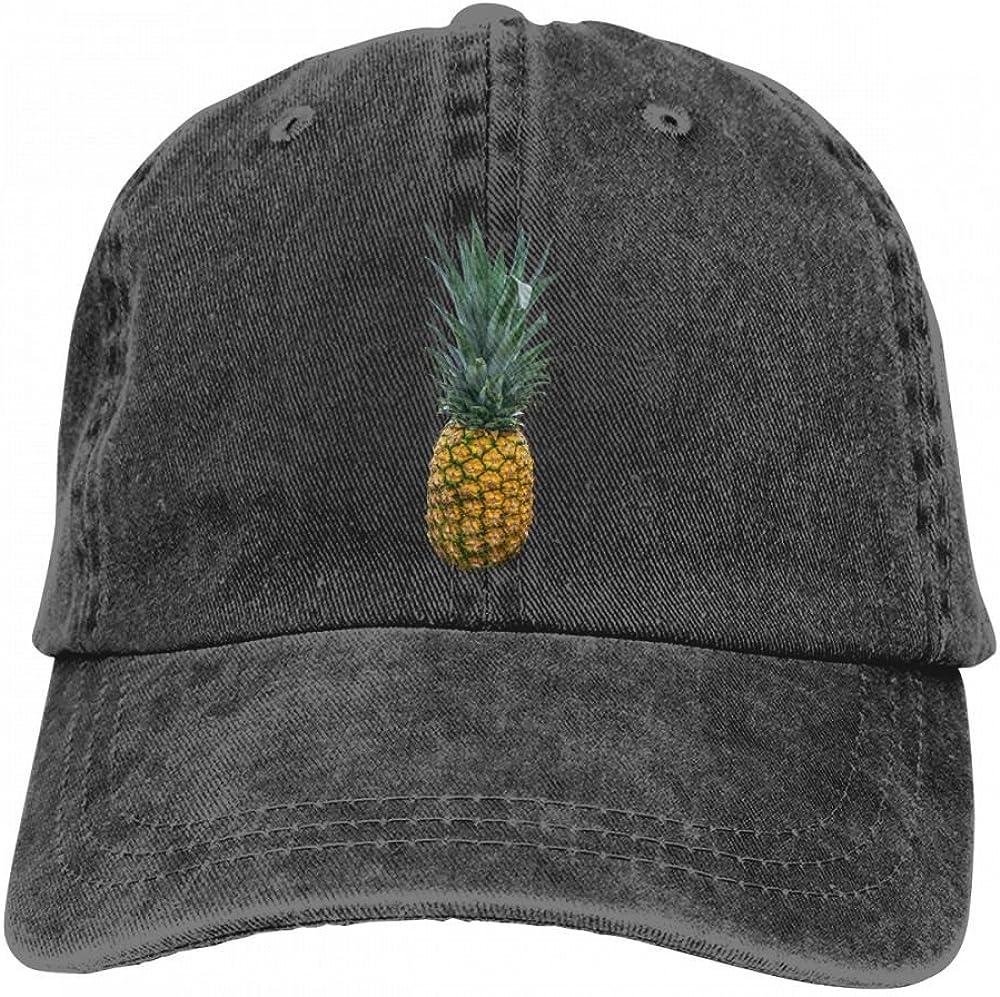 HM66-CAP Pineapple Mens Or Womens Cotton Adjustable Denim Fabric Baseball Cap Sun Hat