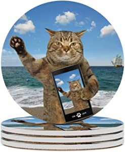 Round Drinks Absorbent Stone Coaster Set Heat-Resistant With Cork Base SAndy Beach Selfie Cat Prevent Furniture From Dirty Cup Mat for Office Home