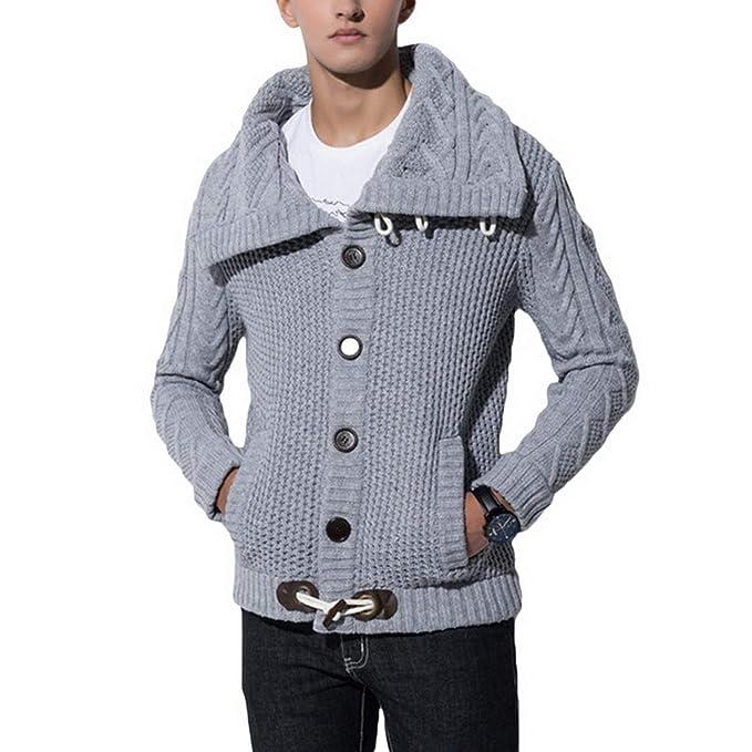 Hombre Sudaderas Suéter de la Capa de los Hombres de la Moda del otoño suéteres sólidos Ocasionales de Punto cálido Jersey suéter Abrigos para Hombre más ...