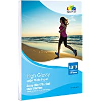 """High Glossy Photo Paper 8.5x11-100sheets Super White Inkjet Paper for Inkjet Printing Inkuway (8.5""""X11""""X100-180g Thin…"""