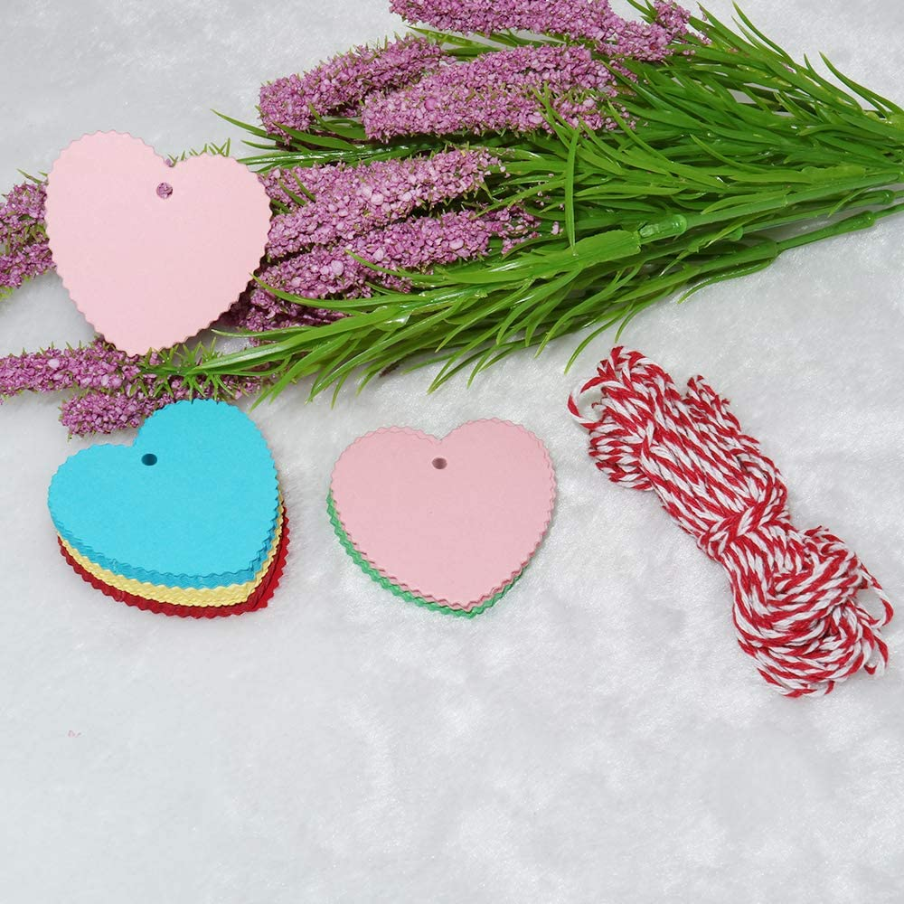 6 cm Wedding Favour Hang Tags with 20 Meters Red and White String for Valentines Day,Mothers Day or DIY Crafts /& Price Tags Heart Tags,100 PCS Red Gift Tags,6.5