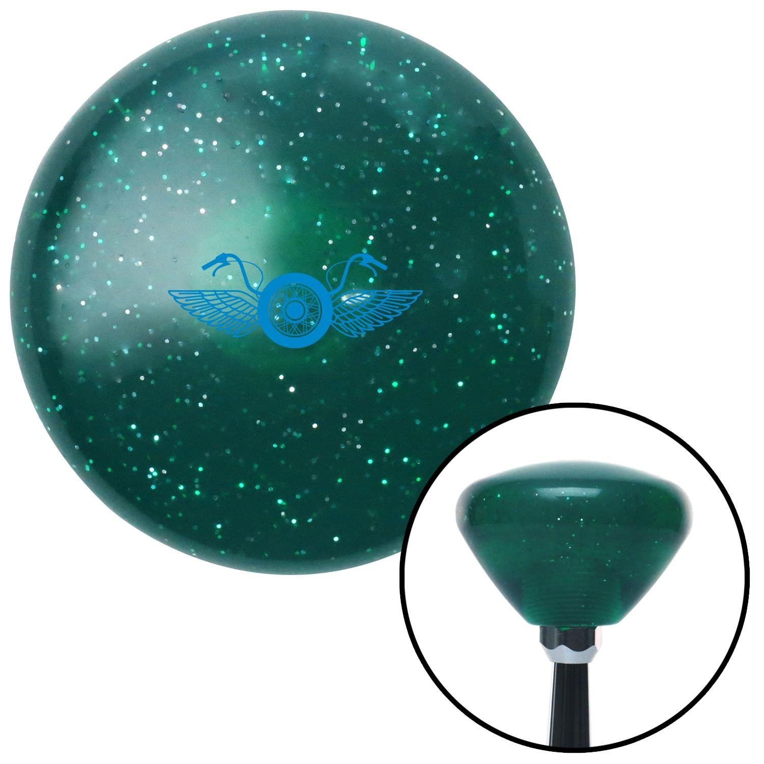 American Shifter 291978 Shift Knob Blue Motorcycle Handlebars Green Retro Metal Flake with M16 x 1.5 Insert