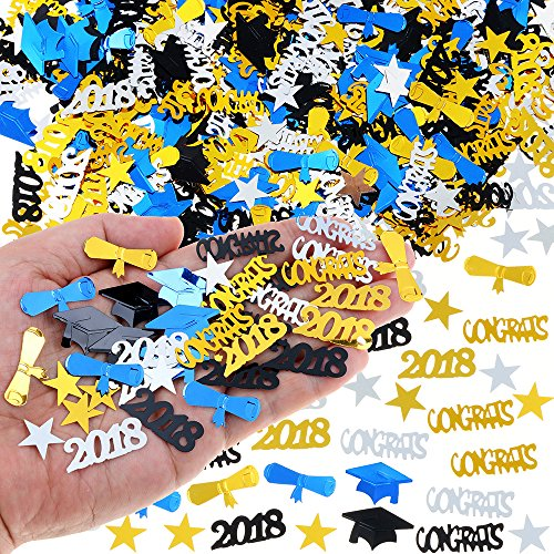 2018 Graduation Table Confetti Graduation Party Supplies - 3 Oz / 2000 Pieces. Graduation Decorations for Grad Party are of Gold, Black, Silver and Blue CONGRATS, Stars, 2018, Cap, Diploma Confetti (Ounce Two 3 Piece)