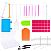 46 Pieces DIY Diamond Painting Tools Set Tool Accessories with Embroidery Box for Diamonds Earrings Beads Necklace Art…