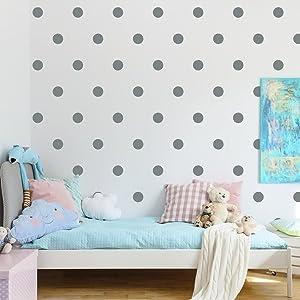 80pieces/ Set 4.8cm Polka dot Wall Sticker -Easy Peal & Stick- Environmental Removable Kids Nursery Room Decor Decal Sticker (Gray)