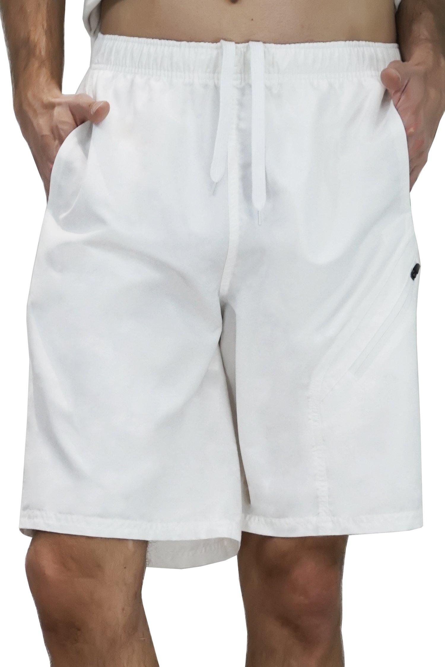 Super 777 Men's Board Shorts Swim Shorts with Side Pocket Shorts Large White