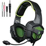 SADES SA807 nueva versión XBOX ONE PS4 pc Gaming Headset juego auriculares con micrófono para para Xbox One PS4 portátil Mac Tablet iPhone iPad iPod (negro & verde)