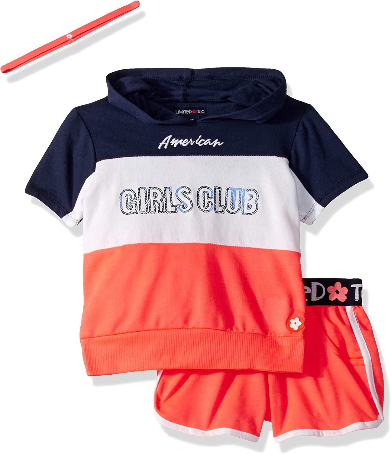 Limited Too Girls Sleeve Hooded Top and Accessory Set Pull-on Short