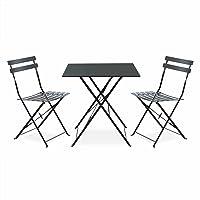 Alice's Garden - Salon de Jardin bistrot Pliable - Emilia carré Gris Anthracite - Table 70x70cm avec Deux chaises Pliantes, Acier thermolaqué