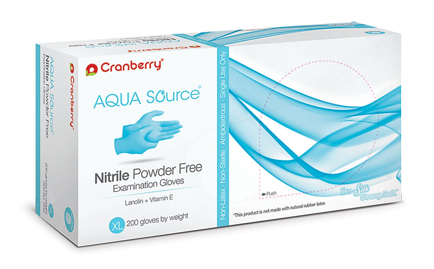 Cranberry USA CR3449case Aqua Source Powder Free Exam Gloves, X-Large, Nitrile, Beaded-Cuff, Blue (Pack of 2000)