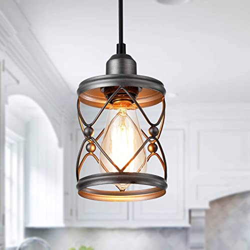 Adcssynd Industrial Metal Cage Ceiling Pendant Light Rustic Mini Pendant Lighting Fixture