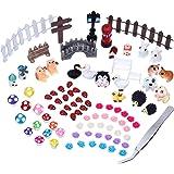 eBoot 89 Piezas de Adornos de Miniatura Kit con 1 Pieza de Pinza para Bricolaje y Decoración de Jardín de Hadas y Casa de Muñecas