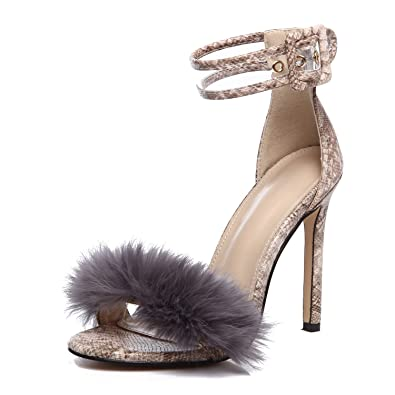 99f57bdfadf azmodo Women Shoes Fur Sexy Ankle Strap Open Toe Stiletto Heeled Sandals  for Wedding Party