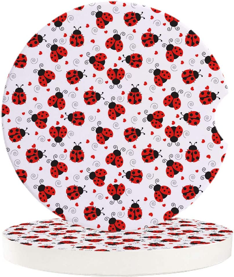 Car Drinks Coasters Cartoon Ladybug Pattern Round Coaster Car Accessories with Absorbent Ceramic Stone/&Finger Notch for Easy Removal Red Set of 2 Pack