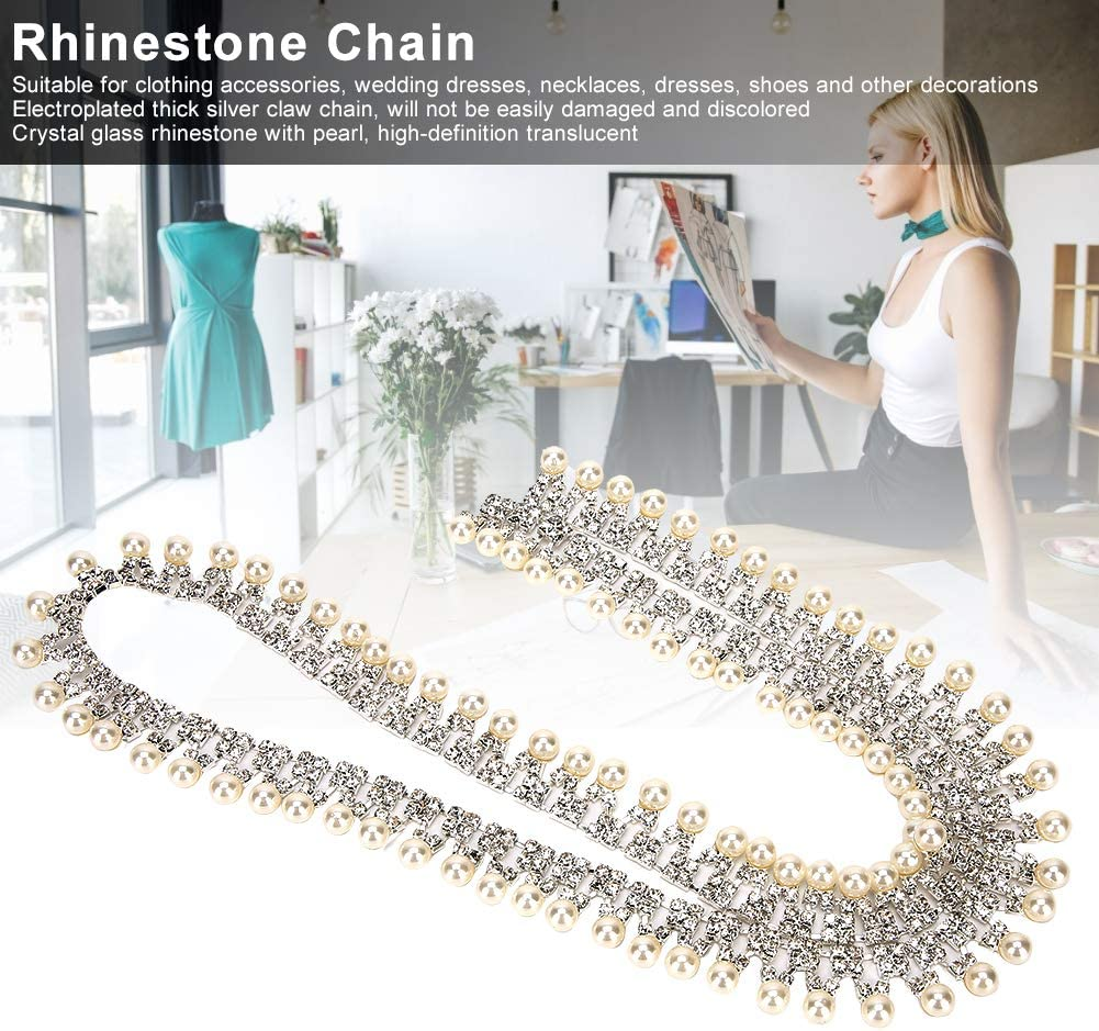 Eoohan 10yd Beige Color Pearl Rhinestone Chain Trims Sewing 14mm 0.55Width and 5mm 0.2 Rhinestone Crafts Costume Garland for Wedding Decoration
