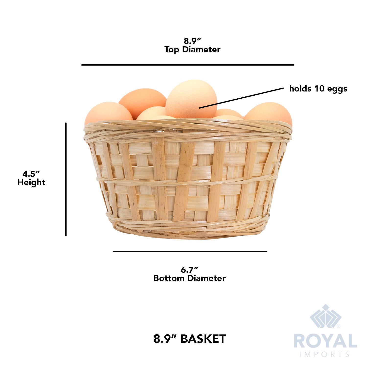 Royal Imports 8'' Round Natural Bamboo Handwoven Bread Basket 4''x8'' with Braided Rim, Pack of 6 by Royal Imports (Image #6)