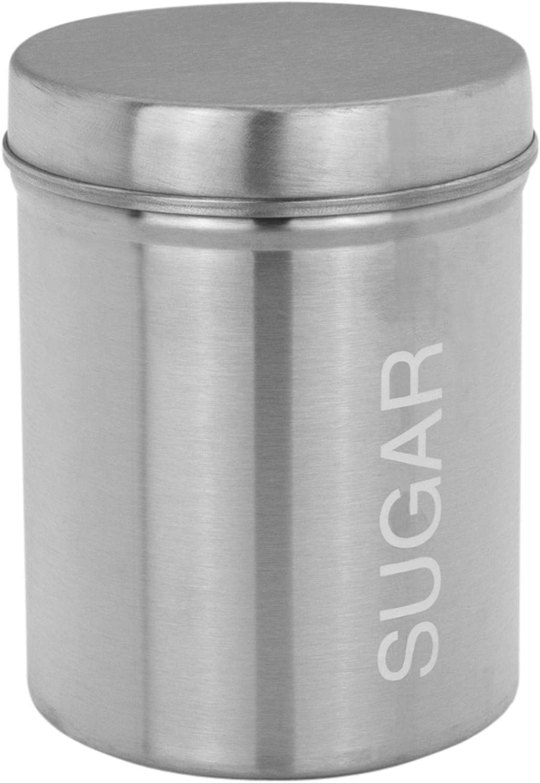 3pc Canister Set Round Metal Tin Box Lid Coffee Tea Sugar Jar Kitchen Storage