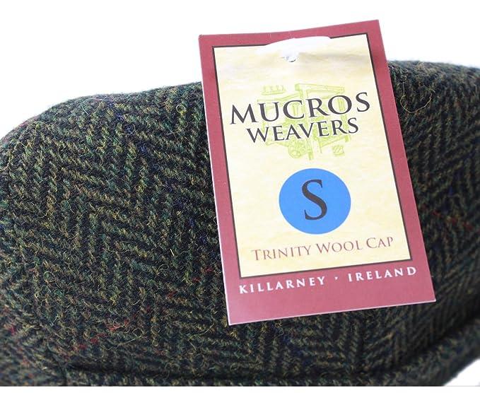 d61026f30d0 Mucros Weavers Kerry Tweed Cap Green Herringbone  Amazon.co.uk  Clothing