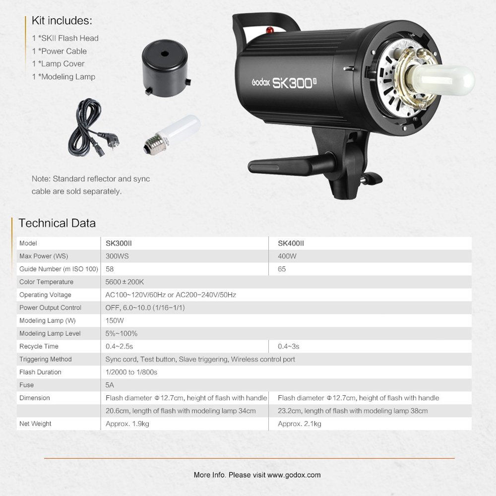 GODOX SK400II 400Ws 110V Professional Studio Strobe SK Series Power 5600K Max 400WS GN58 Flash Studio Light by Godox (Image #4)