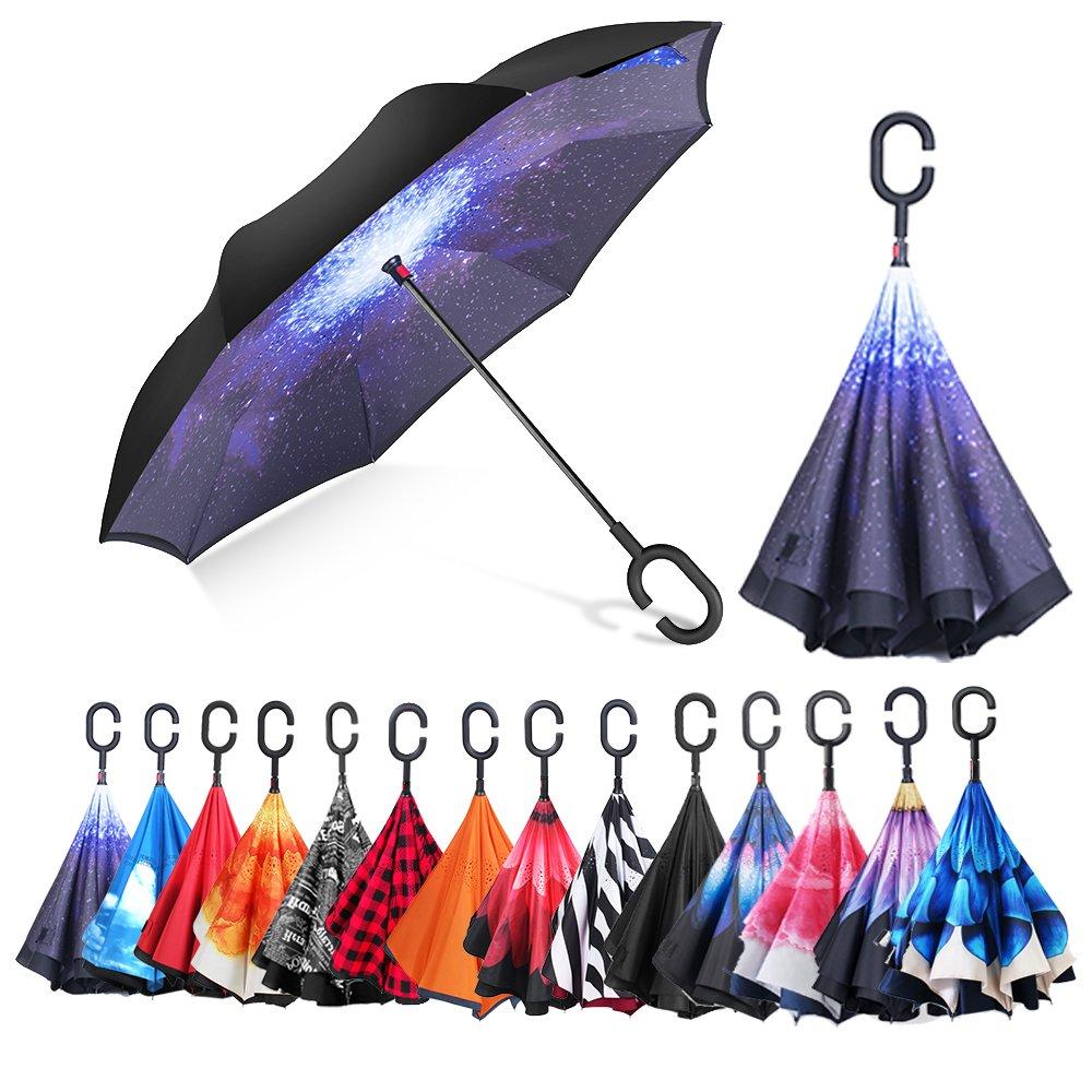 AmbrellaOK Premium Double Layer Compact Reverse Umbrella for Car C-Shaped Hands Free Handle - Inverted Upward Folding Design - Lightweight & Windproof – Ideal Gift Men & Women (Starry Sky)