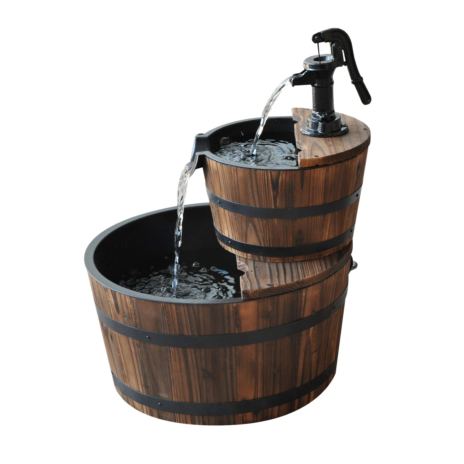 Outsunny Accent Two-Tier Rustic Wooden Barrel Fountain