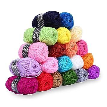 Kurelle Pack de 20 Madejas Hilo de tejer/Acrílico lana - Perfecto para Crochet y Tejer - Hilado ...