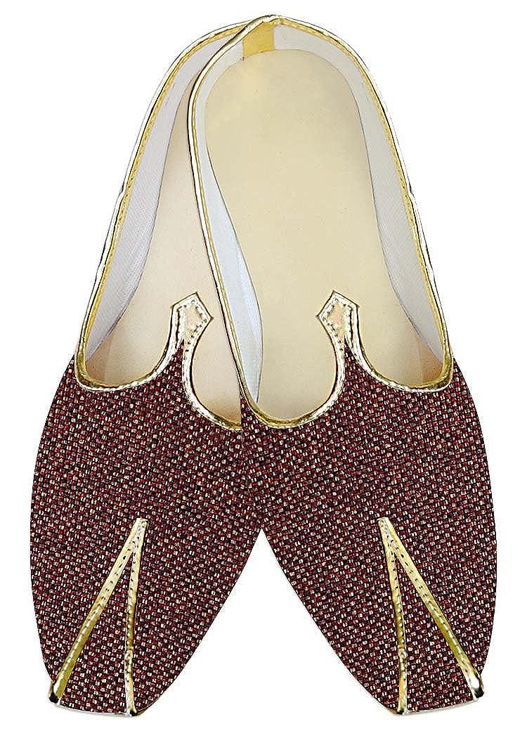 INMONARCH Yute Borgoña Hombres Boda Zapatos Diseñador MJ013935 39 EU