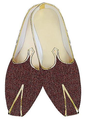 Mens Burgundy Jute Wedding Shoes Designer MJ013935