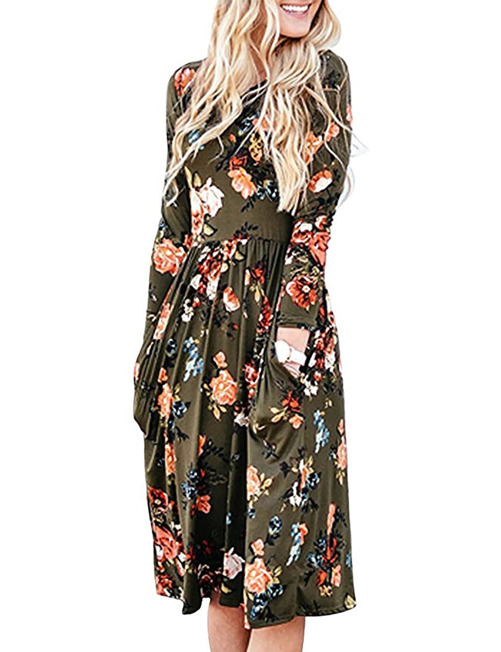 Green Sunerlory Women's Long Sleeve Swing Pleated Floral Tshirt Dress with Pockets