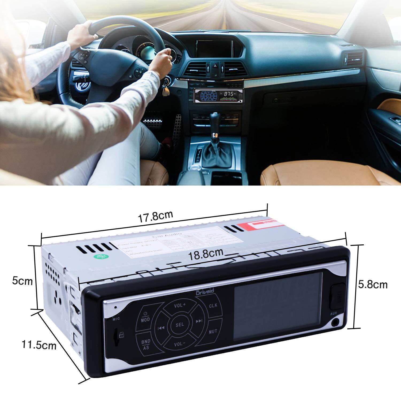Manos Libres FM Est/éreo de Coche 4x50W Funci/ón de Radio y de Archivo Radio de Coche Apoyo de Reproductor MP3 Llamadas Manos Libres Drivaid Autoradio Bluetooth