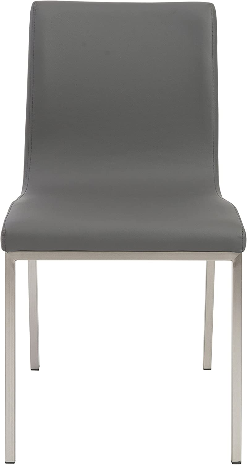 Euro Style Scott Side Dining Chair, Set of 2, Gray Leatherette with Stainless Steel Legs