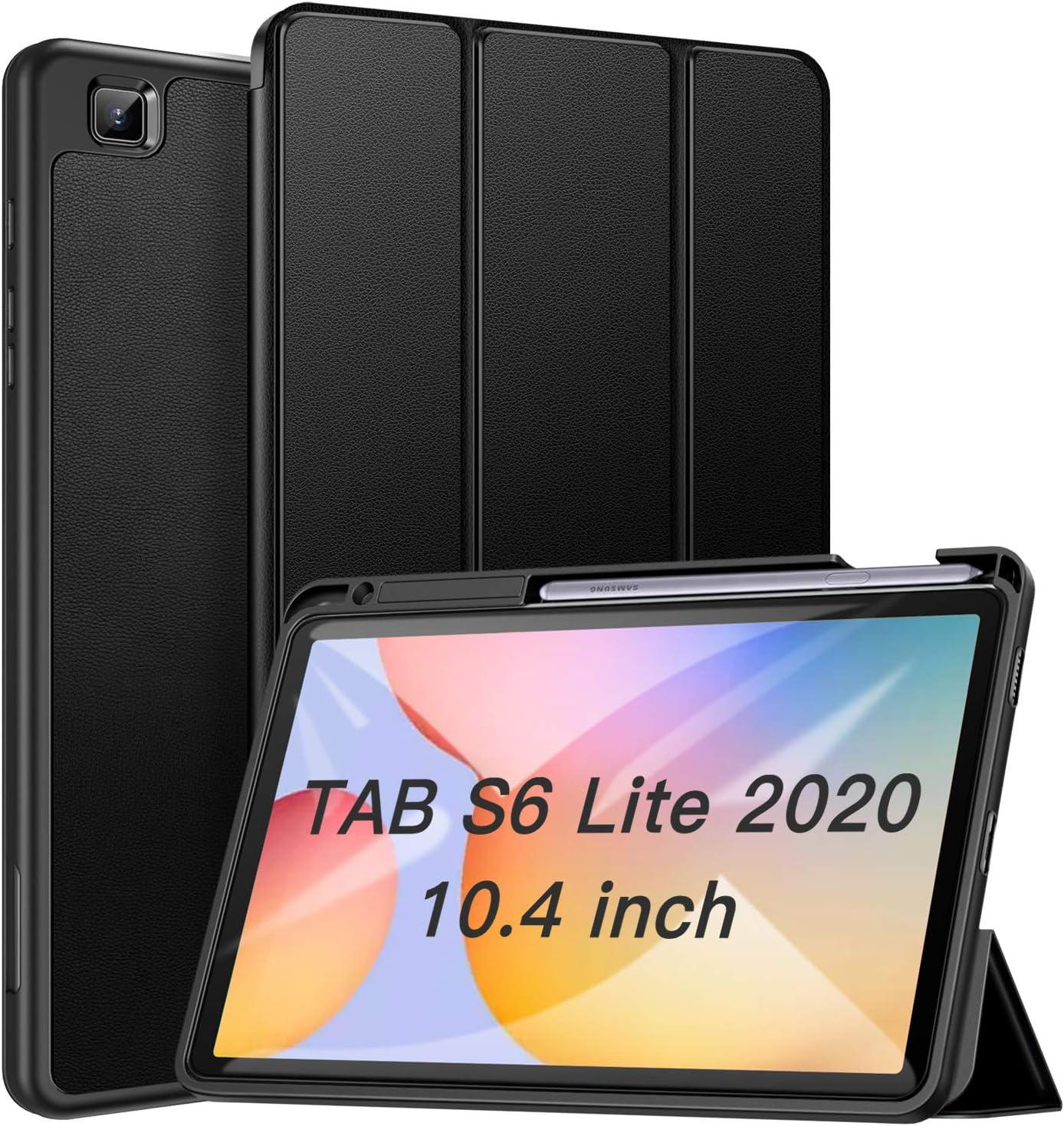 ZtotopCase Funda para Samsung Galaxy Tab S6 Lite 10.4 2020,Ultra Delgada Smart Cover Carcasa con Soporte Incorporado de Pencil,Auto Sueño/Estela Función, para Samsung Galaxy Tab S6 Lite 2020, Negro