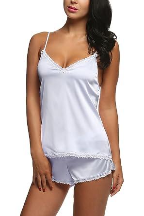 répliques nouveaux produits chauds faire les courses pour Avidlove Femme Ensemble Pyjama Satin Bretelles Chemise Short 2Pcs Pyjacourt  Sexy Été