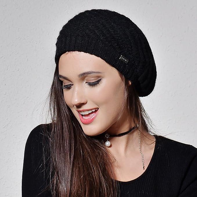43360cc8471 FURTALK French Beret Knit Hat Angora Wool Winter Beanie Cap Real Fur Pom  Pom Hats Original (Dark Grey)  Amazon.ca  Clothing   Accessories