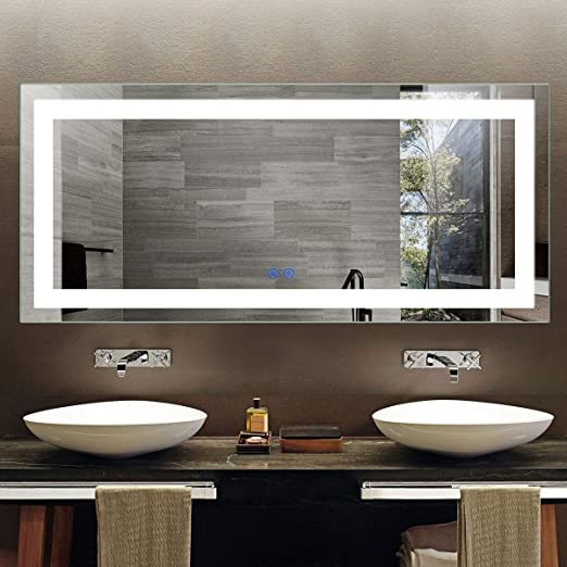Amazon Com Led Lighted Bathroom Mirror With Touch Screen Extra Large Bathroom Vanity Mirror For Wall Wall Mirrors For Bathroom With Lights White Mirrors Backlit Mirror Espejo De Baño 71x32 In D Ck010 A Kitchen