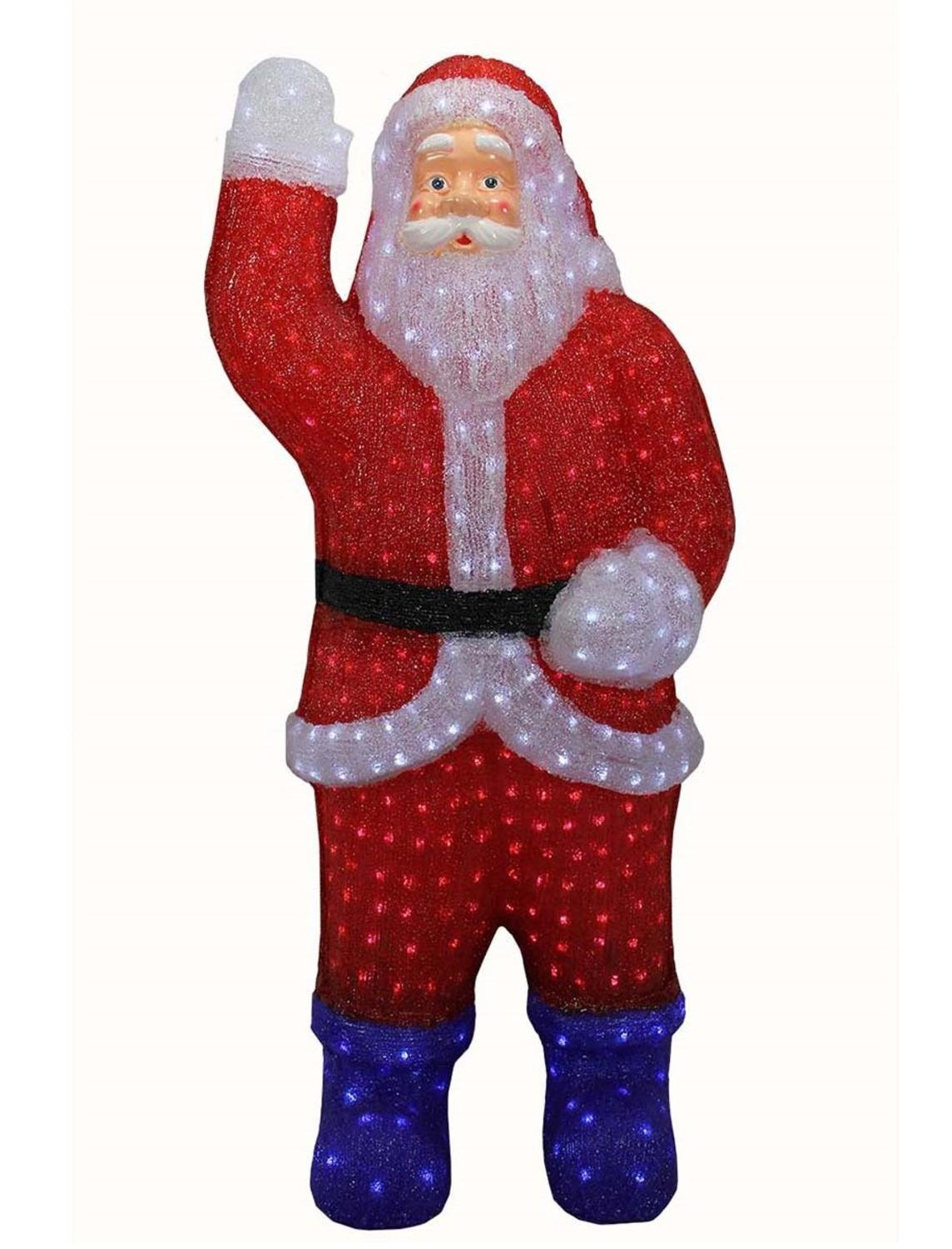 Northlight Lighted Commercial Grade Acrylic Santa Claus Christmas Display Decoration, 3' , Red
