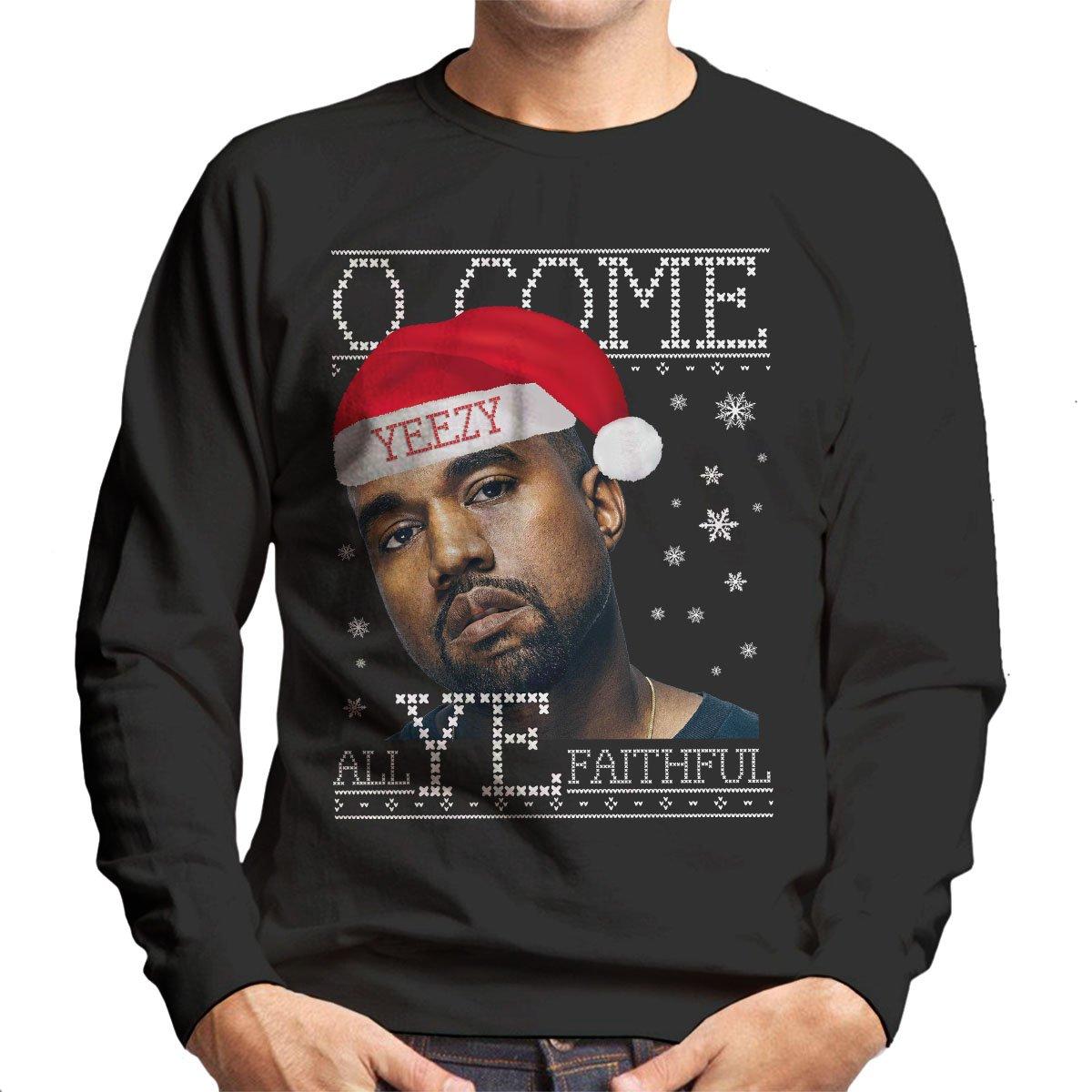 O Come All YE Faithful Kanye West Christmas Knit Men\'s Sweatshirt ...