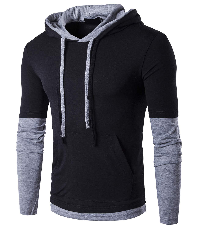 Guoji Mens Hip-hop Streetwear Casual Hoodie Shirt B26 Black Large