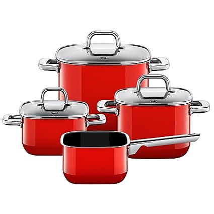 Silit Quadro Batería de Cocina (4 Piezas), Acero Inoxidable, Rojo