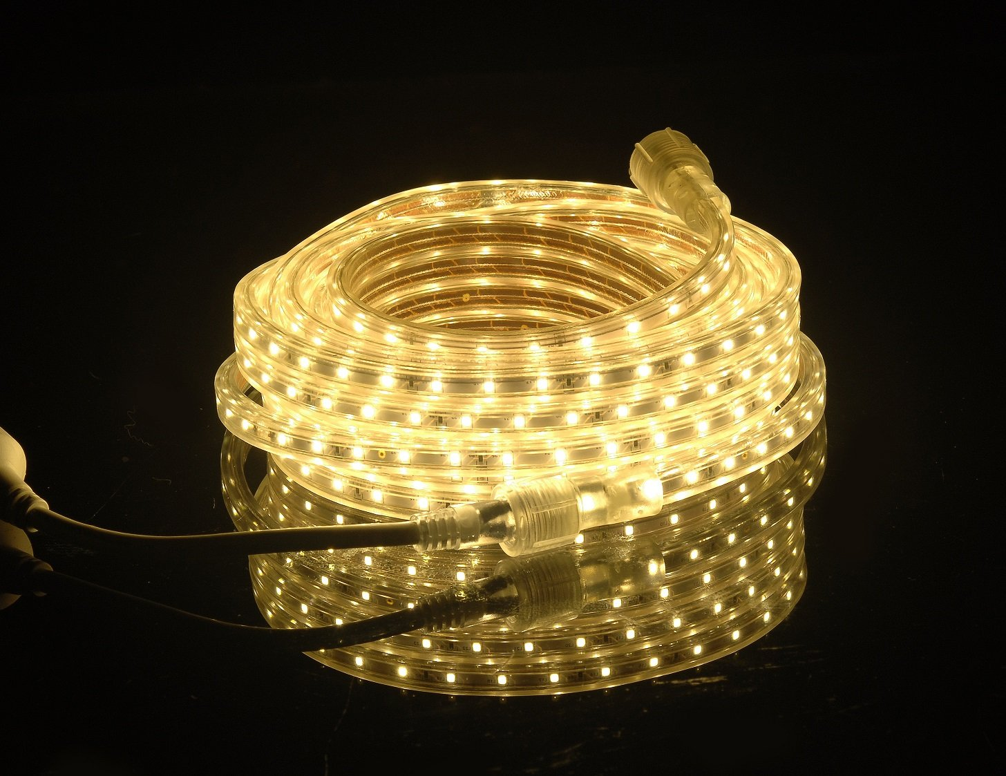 Ready to use CBConcept UL Listed Indoor//Outdoor Use 3000K Warm White 2100 Lumen 360 Units 3528 SMD LEDs Accessories Included, 20 Feet 120VSMD3528-6M-WW 110-120V AC Flexible Flat LED Strip Rope Light Dimmable