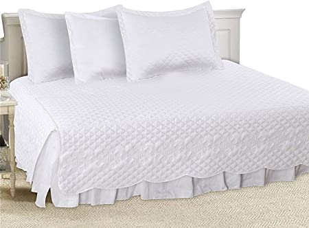 Utopia Bedding 5 Pieces Daybed Set (White) - 100% Brushed Microfiber - 1 Bed Skirt, 2 Quilted Pillow Shams, 1 Pillowcase and 1 Quilted Bedspread & Extremely Durable