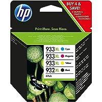 HP 932XL/933XL Multipack Original Druckerpatronen (Schwarz, Blau, Rot, Gelb) mit hoher Kapazität, Packung mit 4 Stück