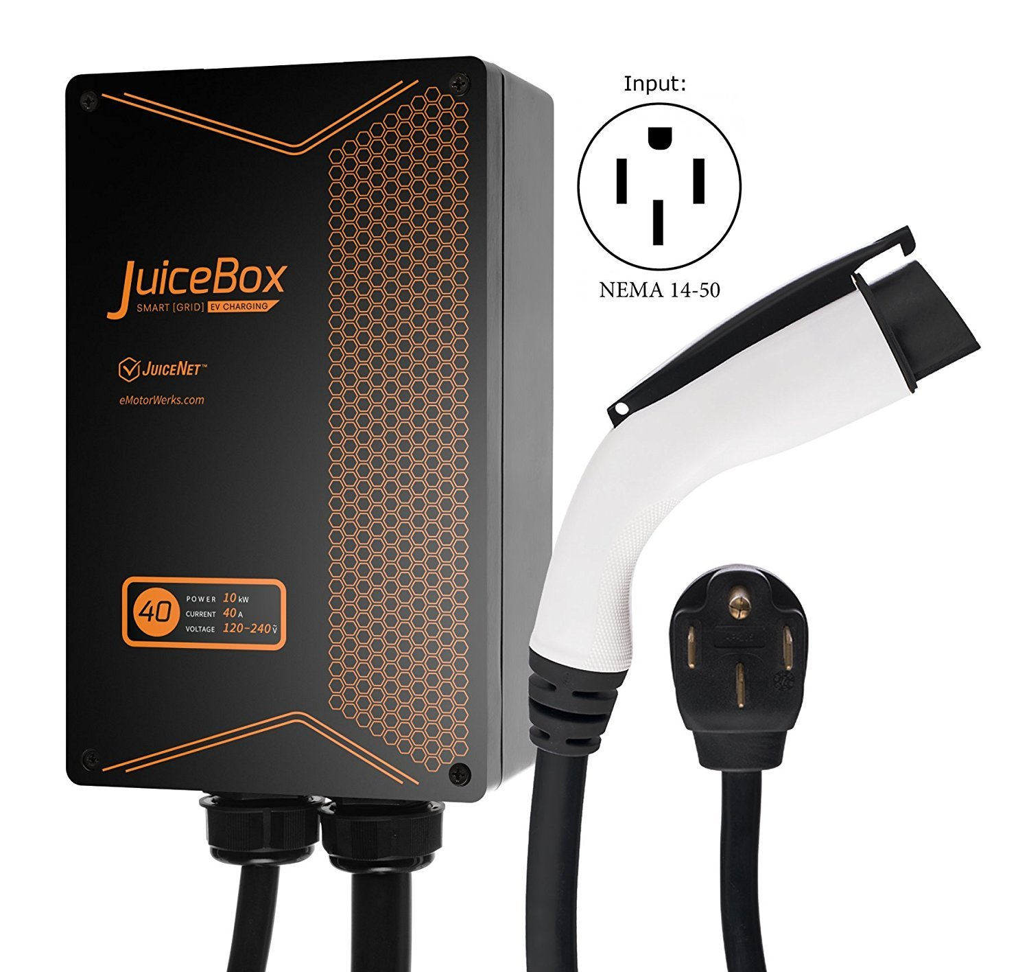 JuiceBox 40A Plug-in Electric Vehicle L2 Home Charging Station with 24-foot cable and NEMA 14-50 plug