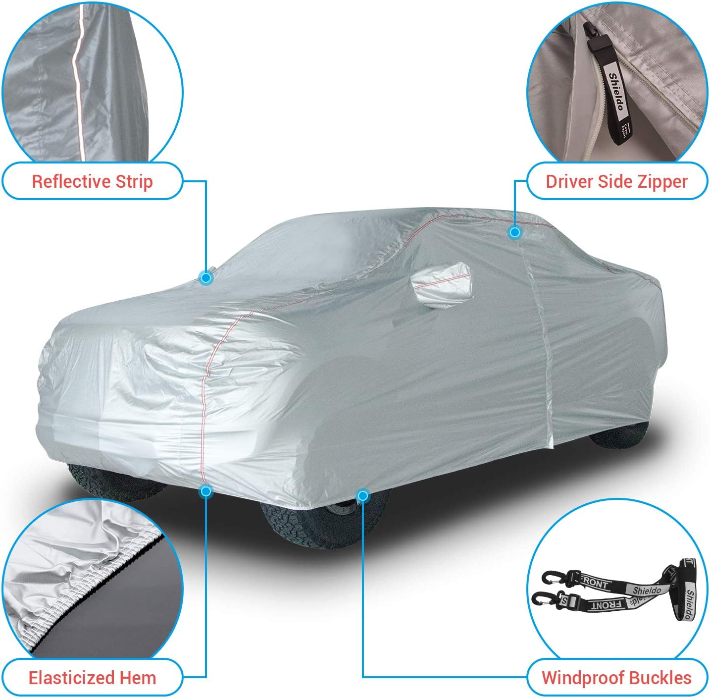 Shieldo Deluxe Truck Cover with Door Zipper Windproof Straps and Buckles 100/% Waterproof All Season Weather-Proof Fit Full Size Truck Length Up to 245 Inches