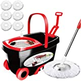 Tsmine Spin Mop & Bucket Floor Cleaning System, Household Cleaning Supplies Stainless Steel Mop Bucket with Wringer on Wheels