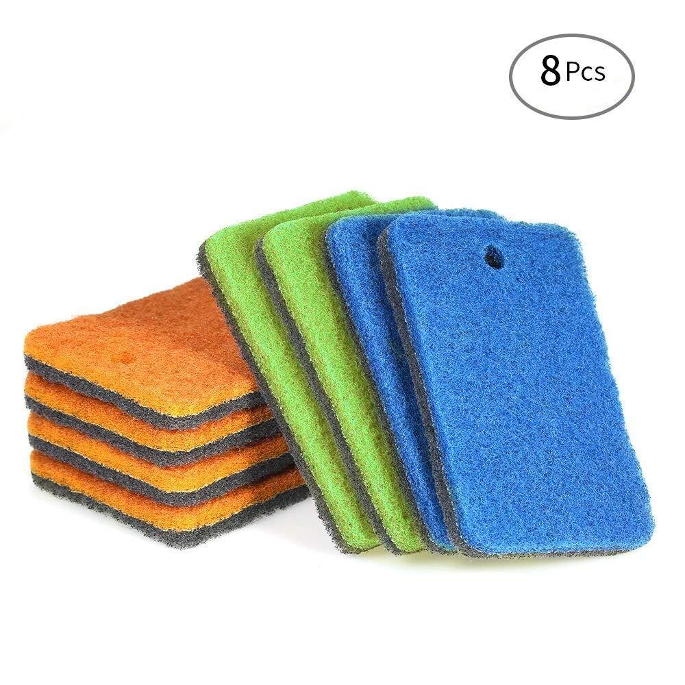Esonmus 8pz domestici double-face scrub spugna lavapiatti macchia rimozione scrubber spazzola pulizia paglietta tools-random colori