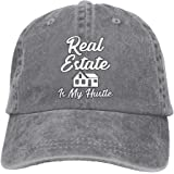 NEW FACUP Real Estate Is My Hustle Funny Realtor Gift Unisex Washed Twill Cotton Baseball Cap Vintage Adjustable Hat