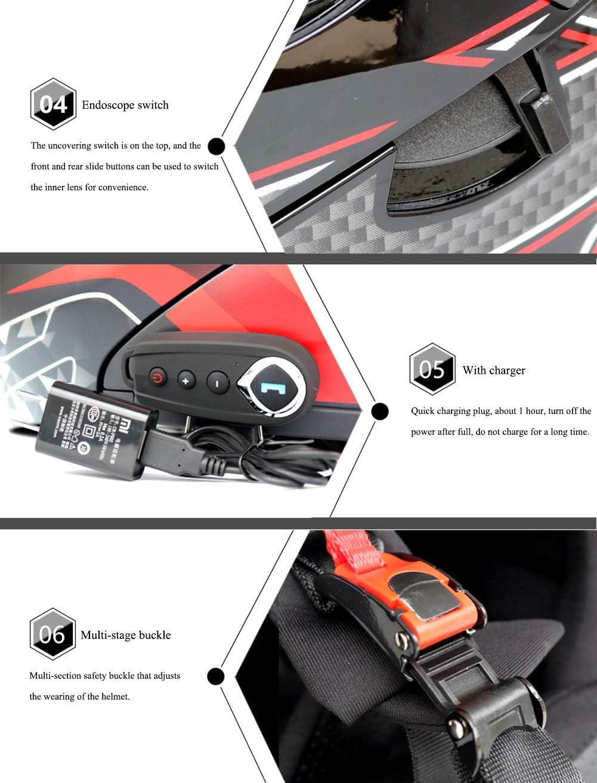 Certificaci/ón ECE Cascos modulares de Moto de Visera Doble con Visera Completa para Hombres y Mujeres Adultos TKer Casco de Motocicleta Integrado Bluetooth