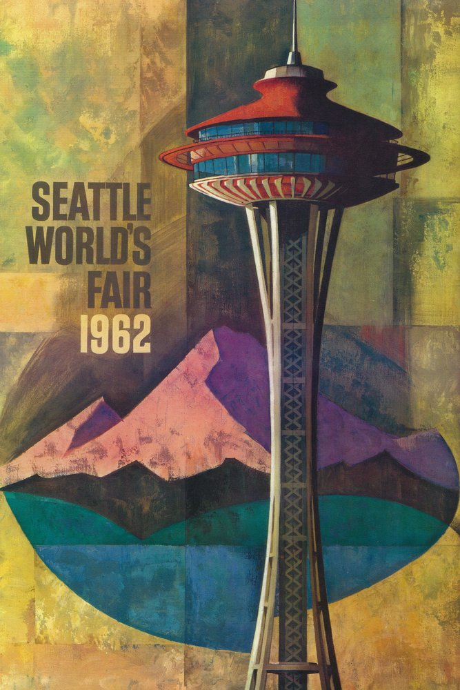 Seattle, Washington - Space Needle World's Fair - Vintage Travel Poster (36x54 Giclee Gallery Print, Wall Decor Travel Poster)